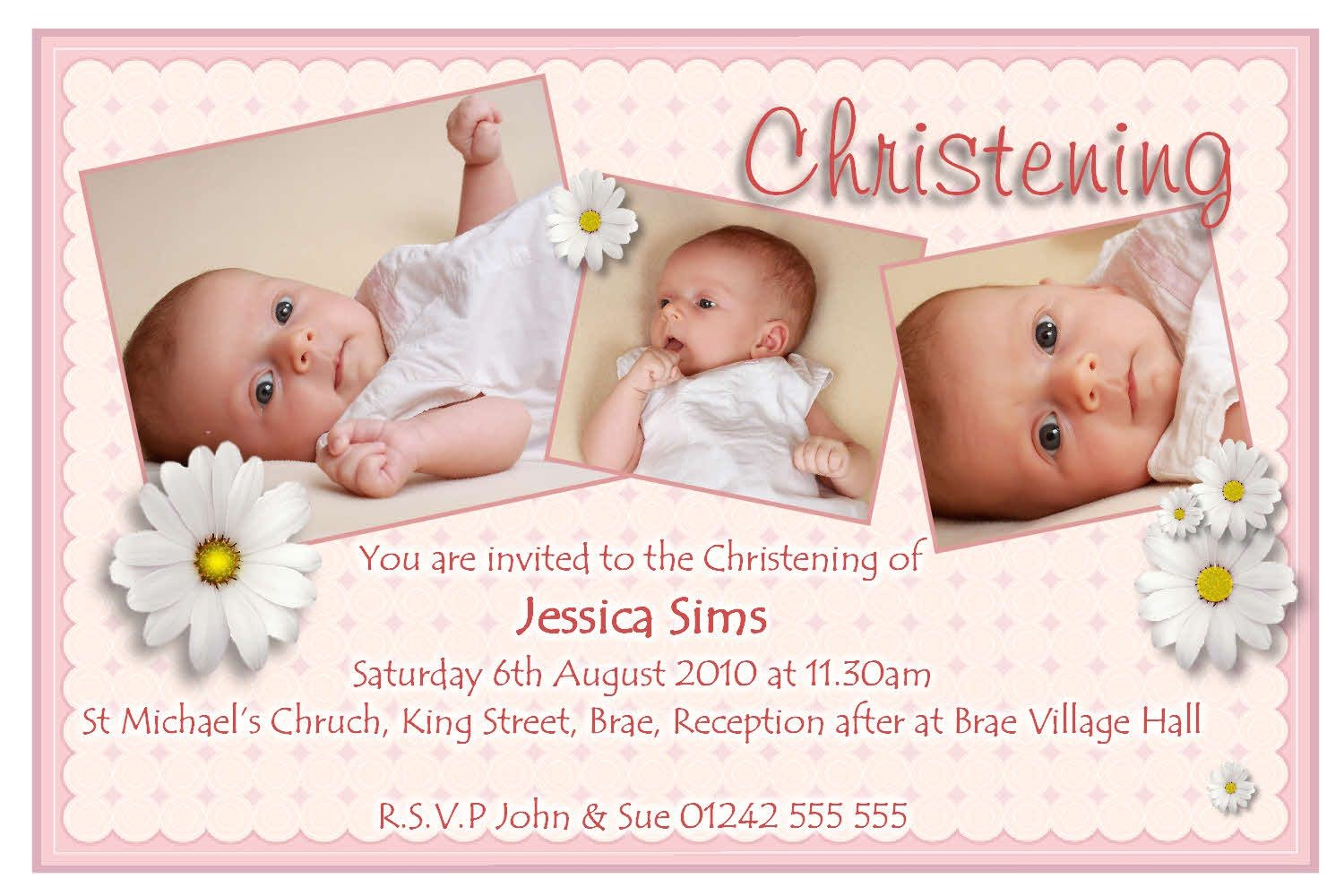 christening invitation cards free
