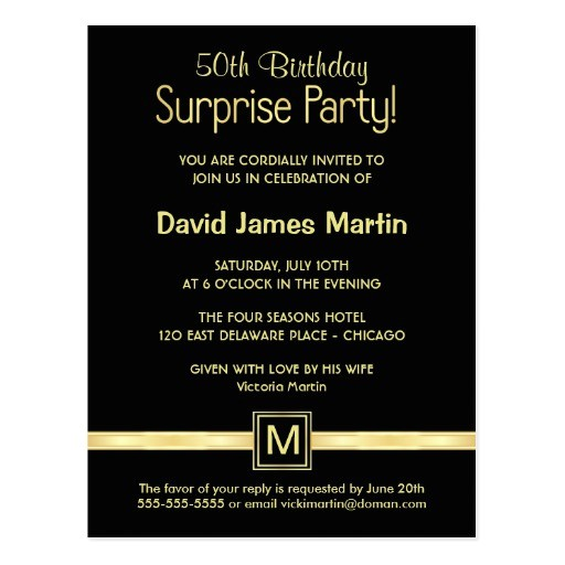50th birthday surprise party sample invitations postcard