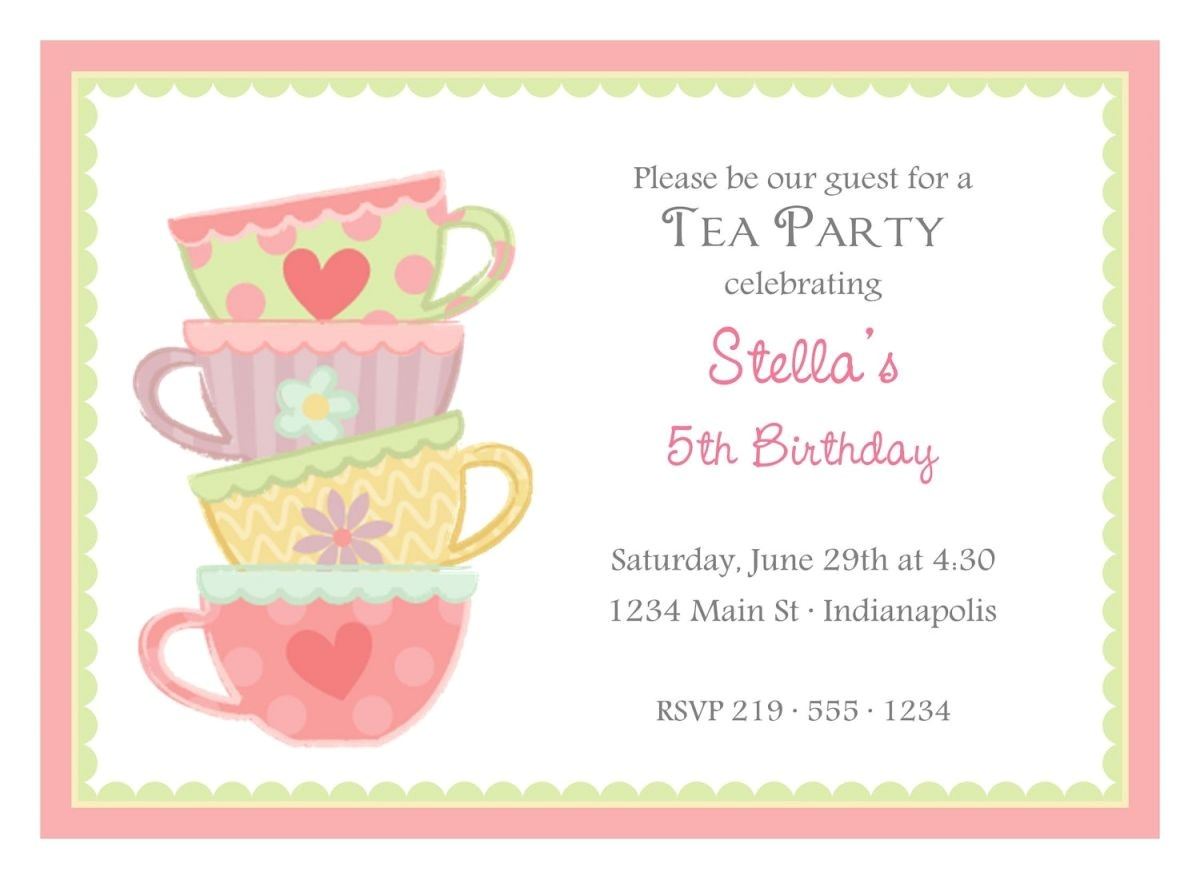 Sample Invitations to A Tea Party Free afternoon Tea Party Invitation Template Tea Party