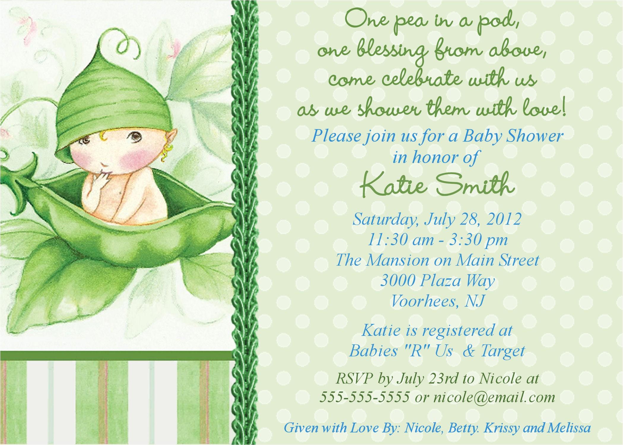baby shower invitation sample