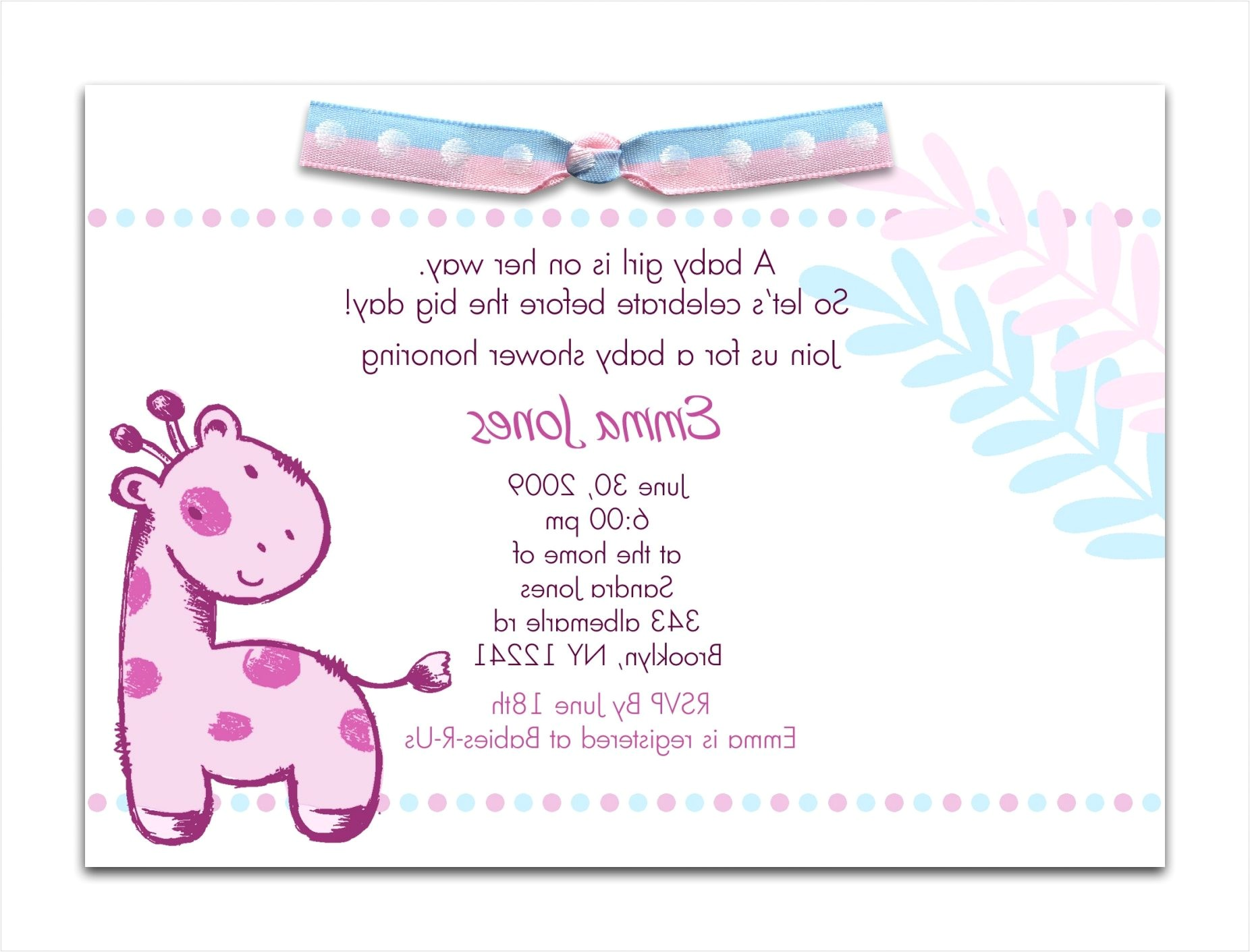 baby shower invitation wording examples sample baby shower invitation wording ideas giraffegirl attractive examples of baby shower invitations 9