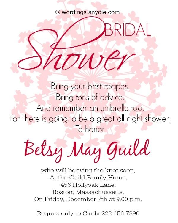 bridal shower invitation wordings