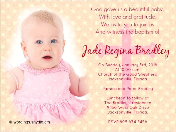 Sample Picture Of Baptismal Invitation Baptism Invitation Wording Samples Wordings and Messages