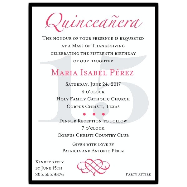 sample of quinceanera invitations wording
