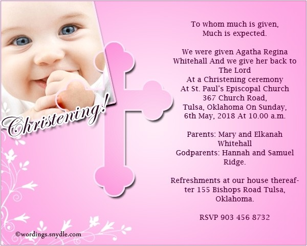 christening invitation text