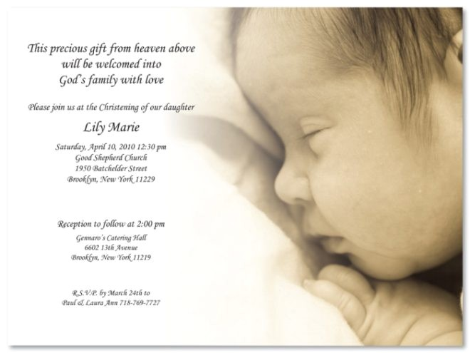 pretty christening baptism invitation template sample with wording and peacefully sleep baby picture