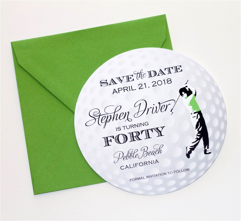 golf ball save the date card golf