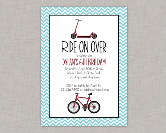 bike birthday invitation scooter