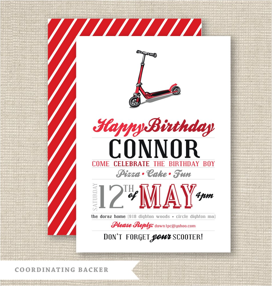 printable party invitation scooter party