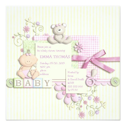 cute fun retro scrapbook baby shower girl invites