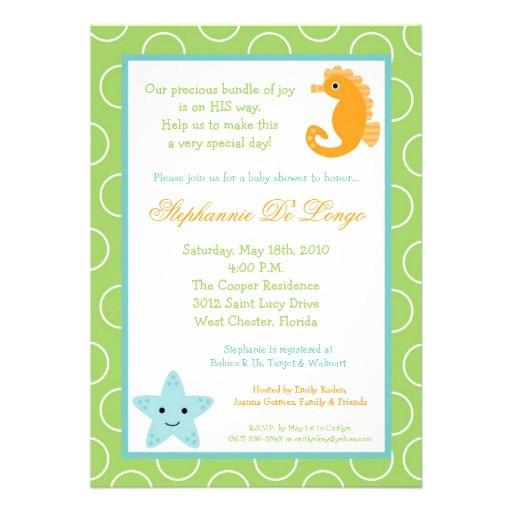 5x7 ocean life sea horse baby shower invitation