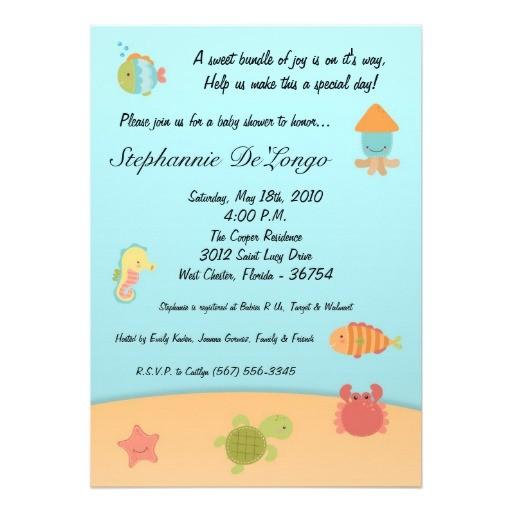 5x7 sea life ocean fish baby shower invitation