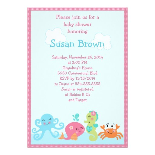under the sea life girl baby shower invitation 2