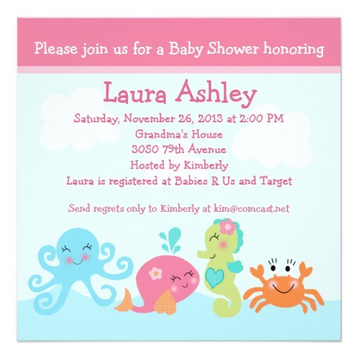 under the sea life girl baby shower invitation