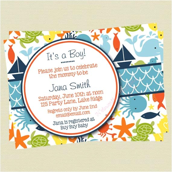 under the sea baby shower invitations