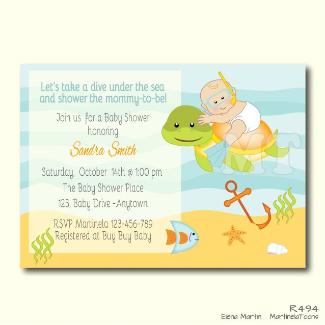 custom under the sea baby shower invite