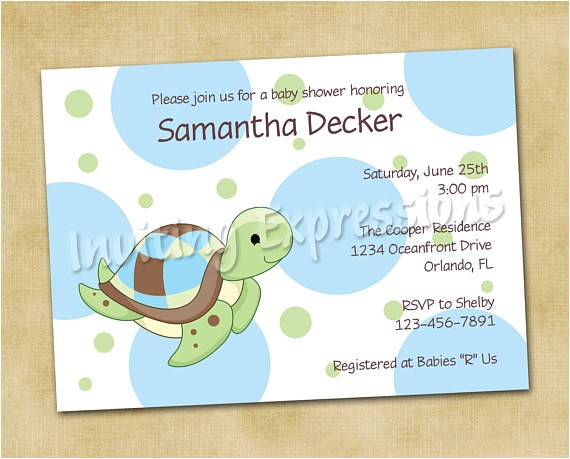 sea turtle baby shower invitations in