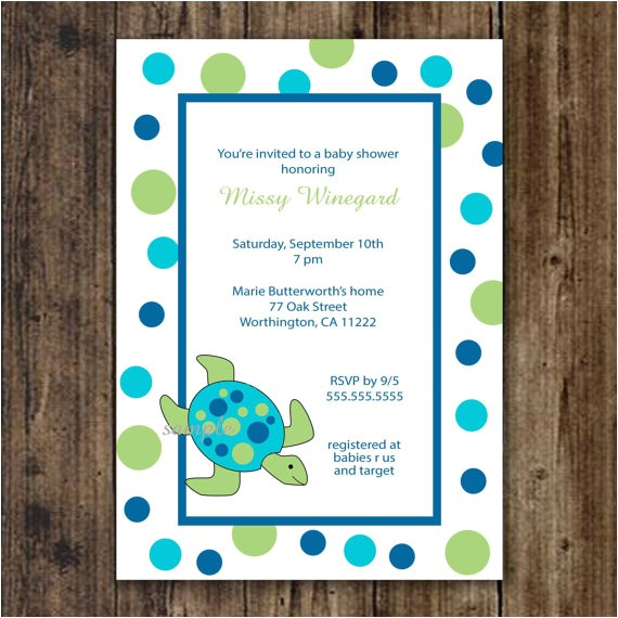 sea turtle baby shower invitation print