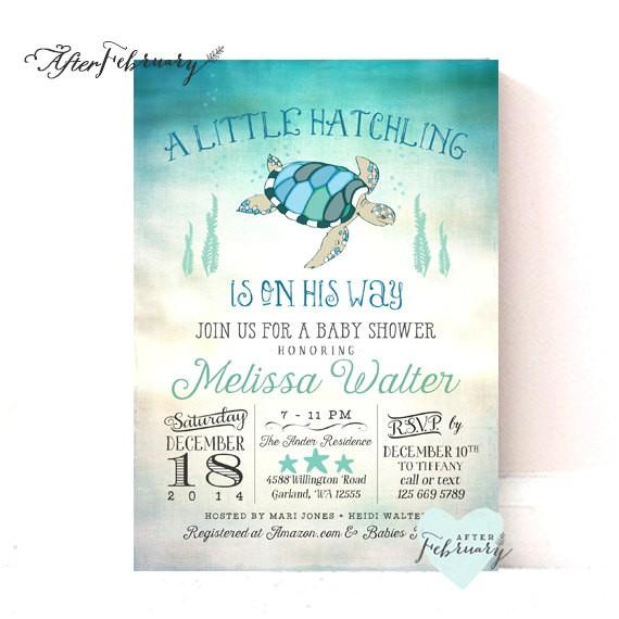 sea turtle baby shower invitation under