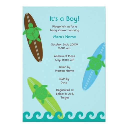 surfing sea turtle baby shower invitation