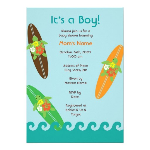 surfing sea turtle baby shower or birthday invitat invitation