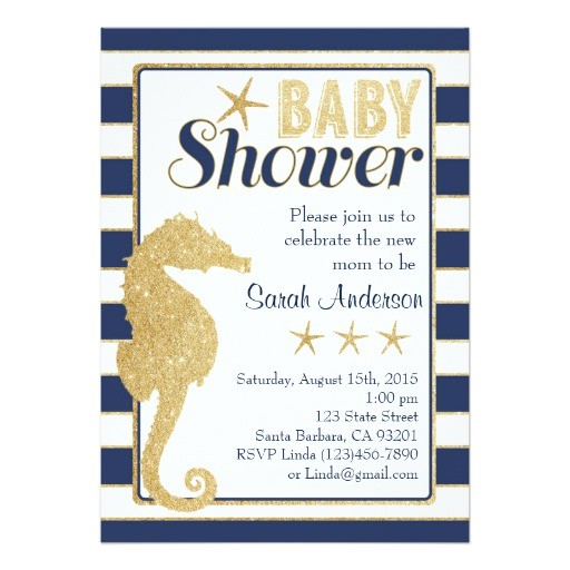 baby shower invitation beach theme gold seahorse