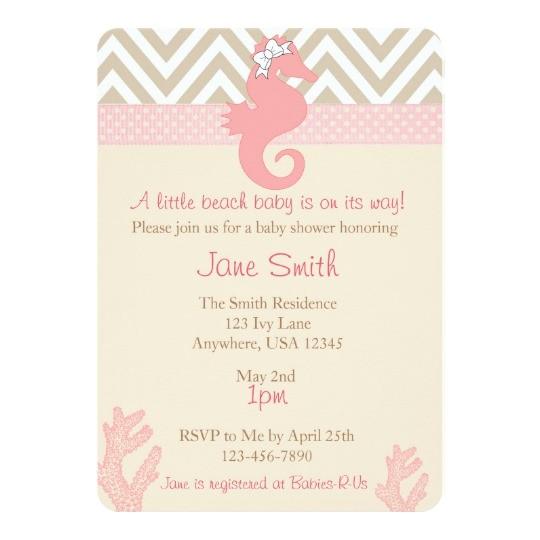 beach baby seahorse baby shower invitation