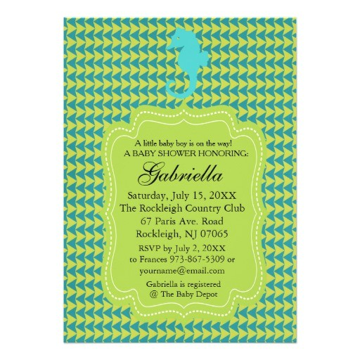 green seahorse baby shower invitation