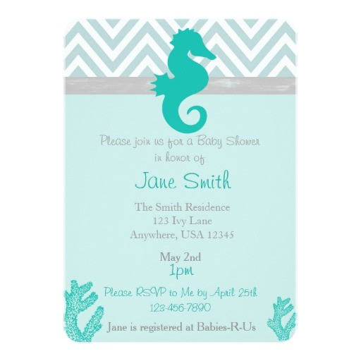 teal seahorse beach themed baby shower invitation