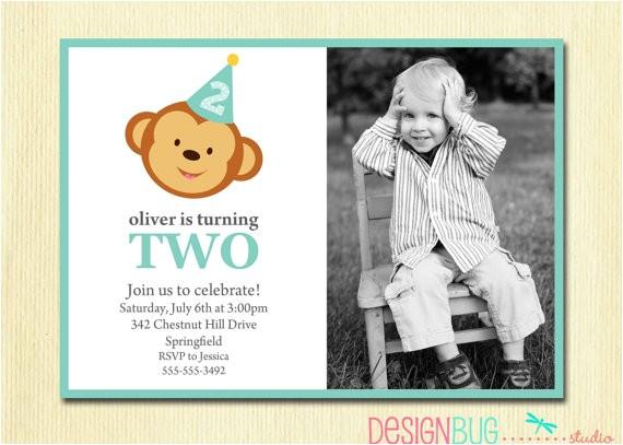 boys birthday monkey invitation baby boy