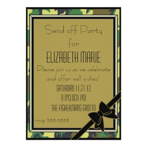 Send Off Party Invitation Card Military Send Off Party 5×7 Paper Invitation Card Zazzle
