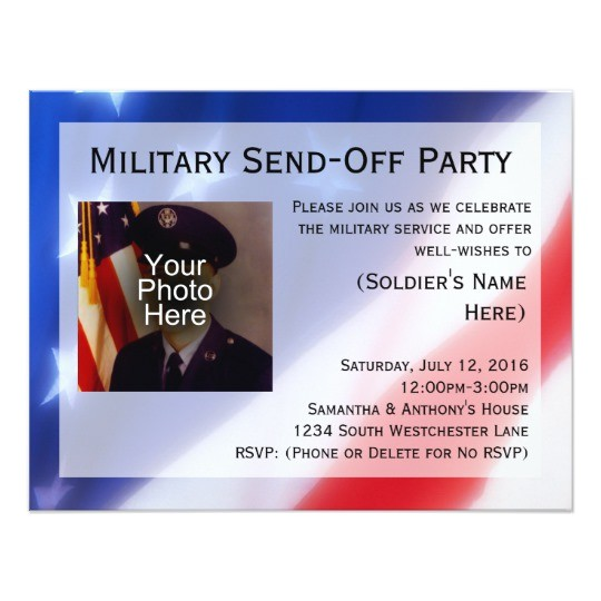 patriotic photo military send off party invitation 161717204356654559