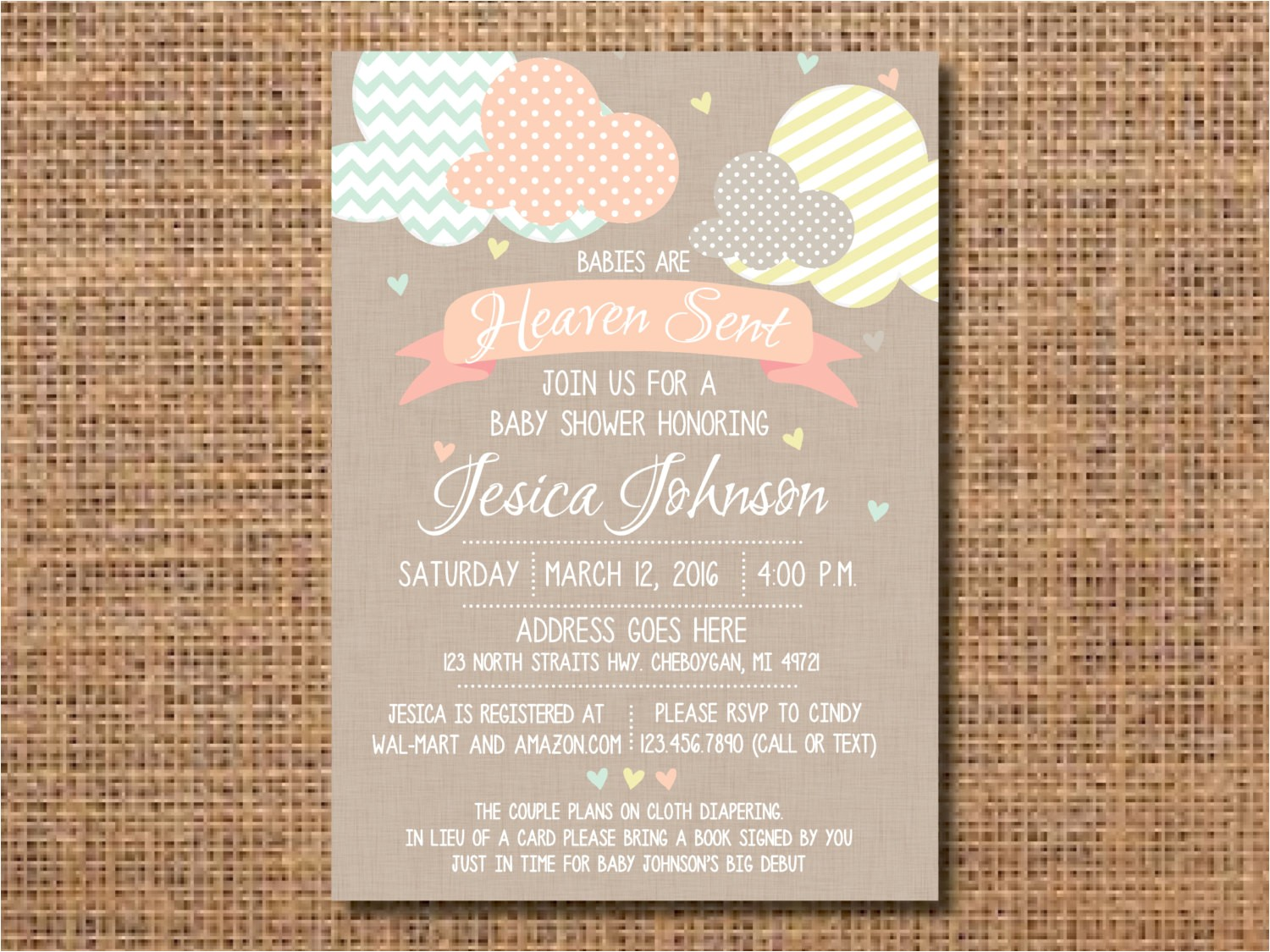 heaven sent baby shower invitation ref=market