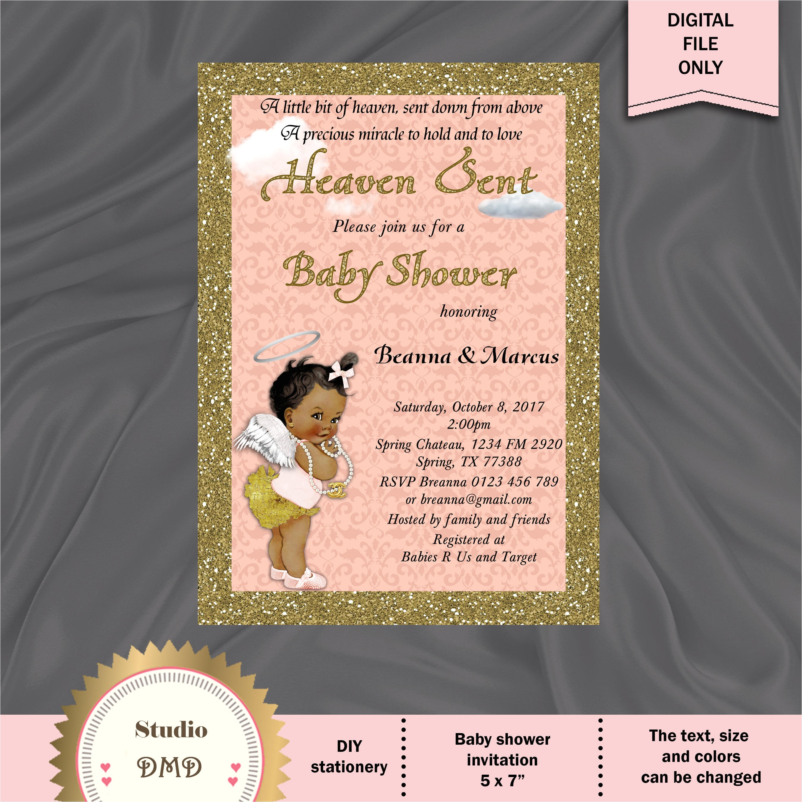 heaven sent baby shower invitation sent