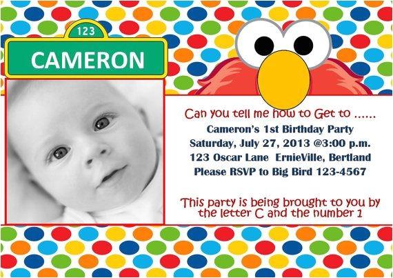 elmo sesame street birthday party invitations
