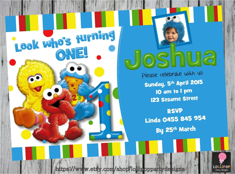 sesame street first birthday invitation