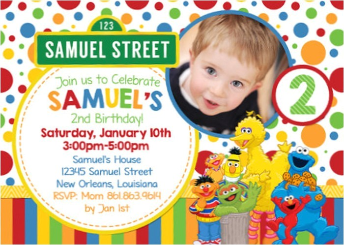 personalized sesame street birthday invitation sample