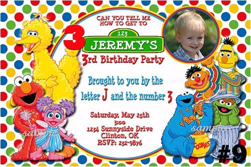 custom sesame street birthday invitations