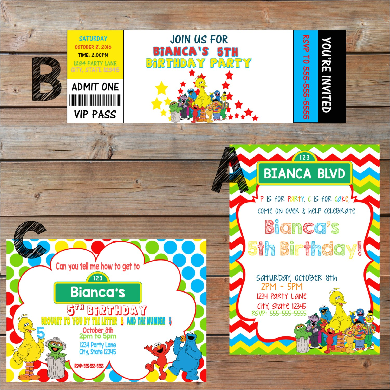 sesame street themed party invitations