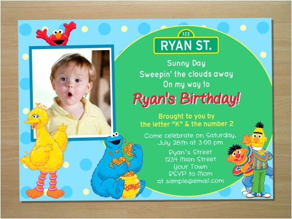 custom sesame street birthday invitation