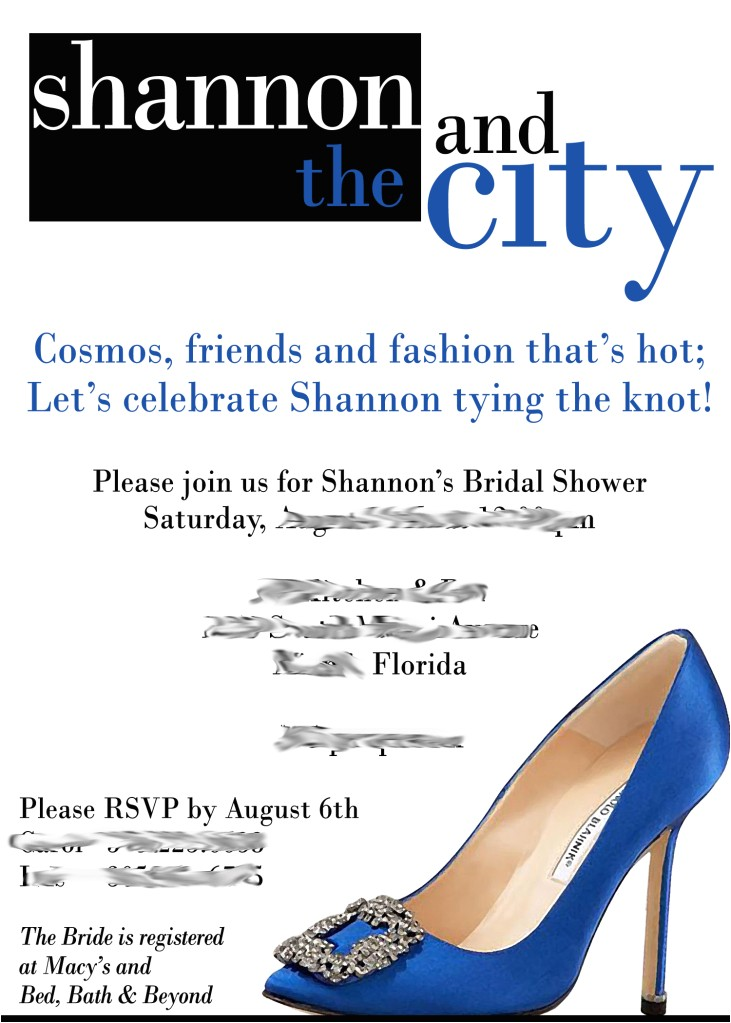 and the city themed bridal shower invitation