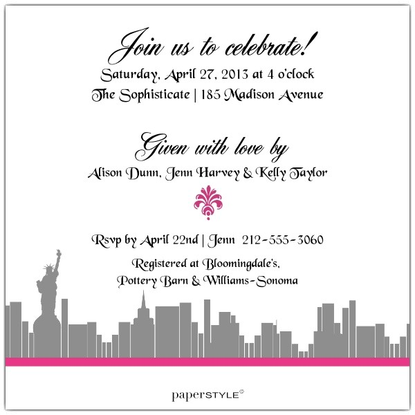 Enchanted New York City Bridal Shower Invitations p 606 55 BS106