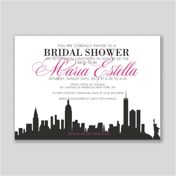 in the city bridal invitation set of