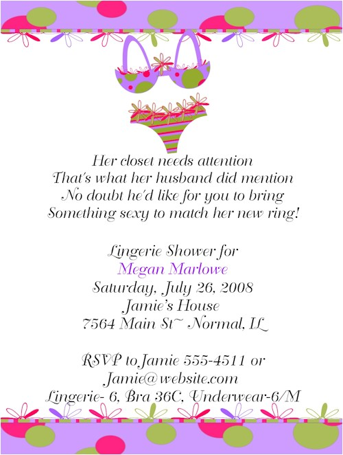 trendy sexy lingerie bridal shower invitations