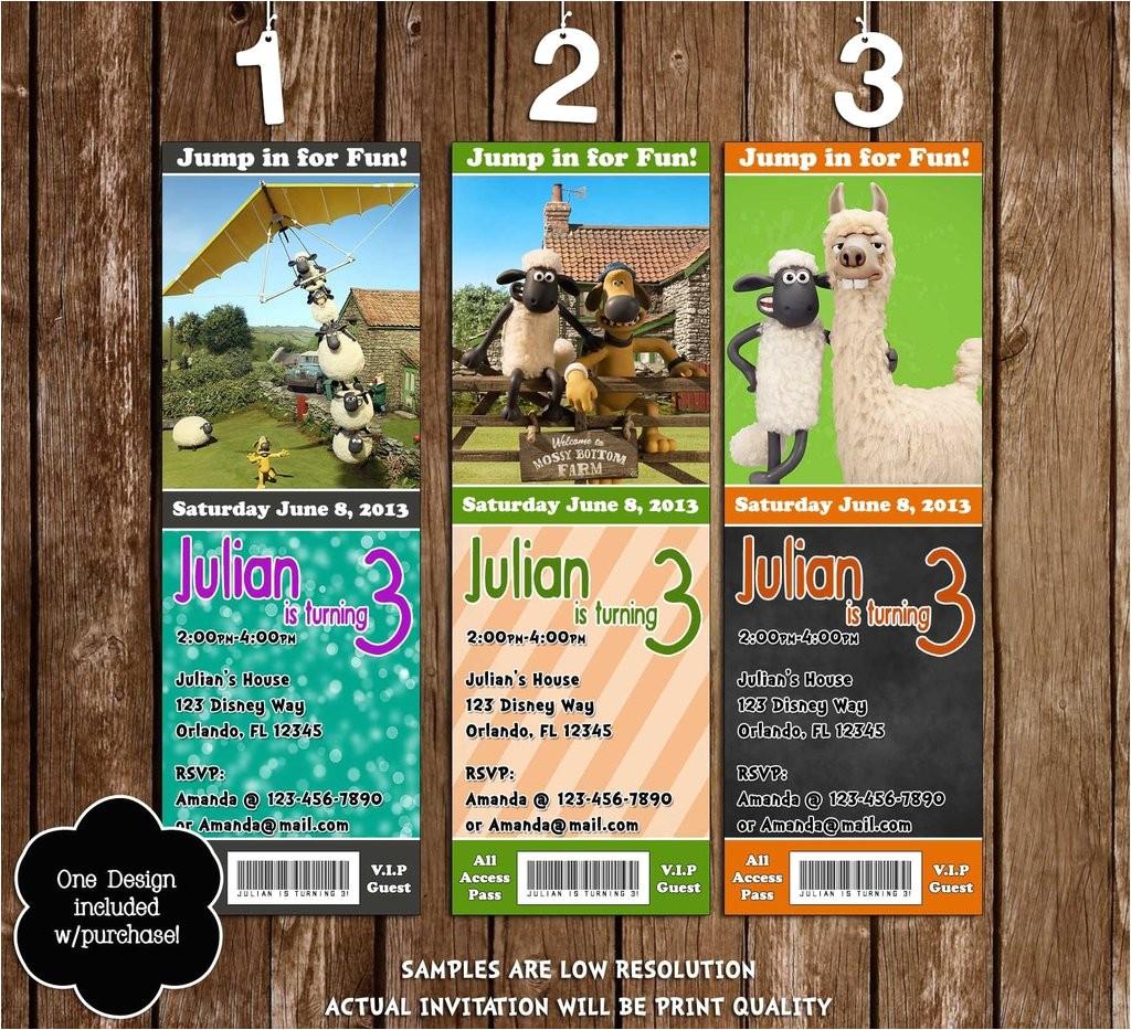 shaun the sheep movie birthday party ticket invitations