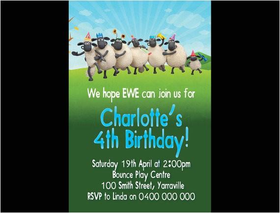 personalised shaun the sheep birthday