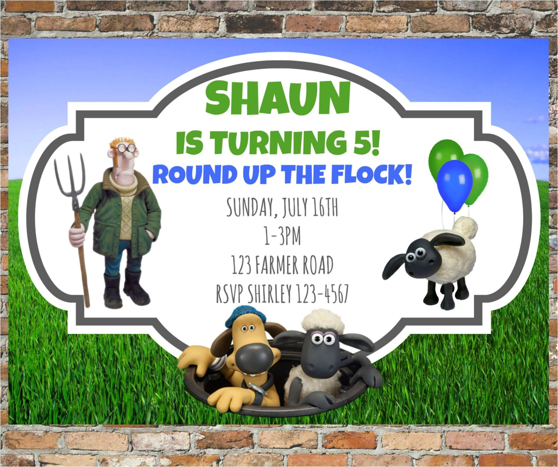 shaun the sheep invitations and thank
