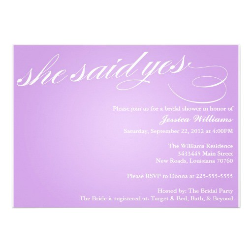 she said yes invitations