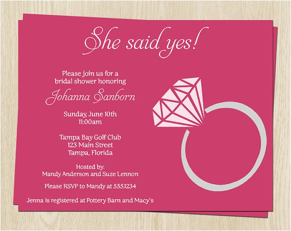 She Said Yes Bridal Shower Invitations She Said Yes Wedding Shower Invitations Bridal Shower