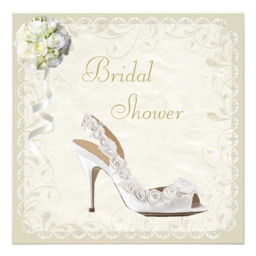 chic shoe bouquet bridal shower invitation
